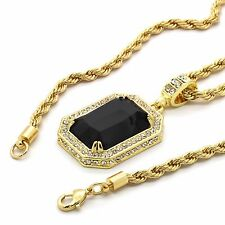 """Mens Hip Hop 14k Gold Plated Simulated Black Ruby Pendant 24"""" 4mm TCH Rope Chain"""
