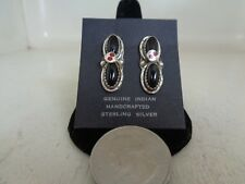Black Onyx & Red Coral Eye Post Ear Rings .925 Sterling Silver Effie Calavaza
