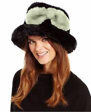 Kate Spade Women's Black Faux Fur Bucket Hat, Black/Cream