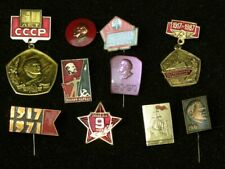 Lenin and Red Banner Vintage USSR Metal Pin Badge 28 x 28 mm