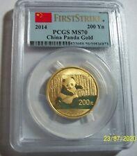 2014 CHINA 200Y GOLD PANDA PCGS MS 70 FIRST STRIKE 1/2 OZ RARE LOW POP