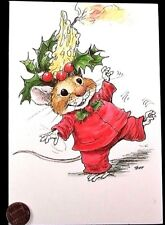 Vintage Mouse Mice Candle Holly - Wallace Tripp Christmas Greeting Card - Unused