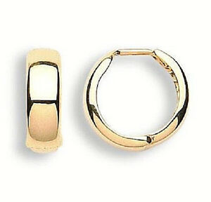 9CT HALLMARKED YELLOW GOLD PLAIN HIGHLY POLISHED 15MM X 5MM HOOP/HUGGIE EARRINGS