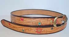 Handmade Real Cowhide Belt Western Style Genuine Leather Color Flowers Design