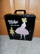 1960'S Vintage Midge Barbies Best Friend Single Doll Black Case W/ Drawer