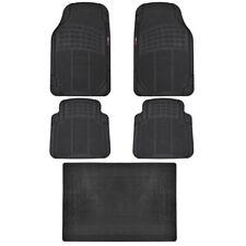 MotorTrend Car Floor Mat w/ Trunk Mat 100% Odorless Trimmable Black Full Set