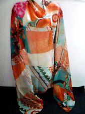 Tolles Tuch Schal bunt orange, grün,pink Geometrie Retro Azteken Look  Neu