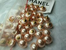 CHANEL 💯 ❤️❤ 6 PEACH PEARL  BUTTONS 10MM SMALL , cc logo, WOW💯 ❤️💯 ❤ LOT 6