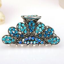 Metal Hair Claw Clip Crystal Diamante Blue Rhinestone Antique Silver Hair Clip