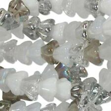 25 White Opal Silver & More Czech Glass Flower Bead MIX
