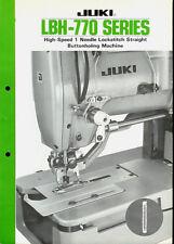 Juki LBH-770 Series Industrial Sewing Machine Rare Orig Factory Dealer Brochure