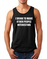 Mens Tank Top I Drink To Make Other People Interesting Shirt Funny Christmas Tee