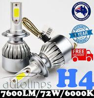 H4 72W 7600LM LED White 6000k Halogen Blue Car Head Light Xenon Globes Bulbs HID