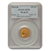1911-D $2.50 Indian Gold Quarter Eagle AU-50 PCGS (Weak D) - SKU#163318