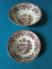 ALFRED MEAKIN ENGLAND TORQUIN BROWN TRANSFER 2 BOWLS  [*81H]