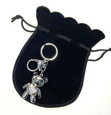 Crystal Teddy Bear Keyring / Bag Chain with Velvet Gift Pouch Christmas Gift