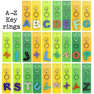 Kids Colourful Personalised Alphabet Letter Name Initial Tag Charm Keyring