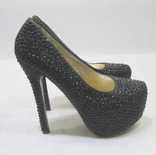 "new Black Rhinestone 5.5""Stiletto High Heel 2""Platform Toe Sexy Shoes Size 7.5"