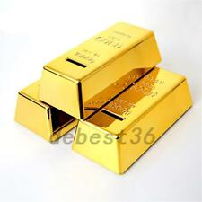 Realistic Gold Bar Shape Piggy Bank Brick Coin Bank Saving Money Box Kids Gift