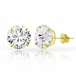 14kt Solid Yellow Gold Super Bright Clear CZ Studs Earrings Round ALL SIZES