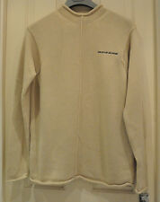 DKNY Jeans Beige Cotton Knit Jumper with Roll Hem Cuff and Neck Edges Size S