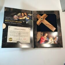 Vintage 1996 Nativity Stones Collection Wooden Cross w/ Embedded Nativity Stone