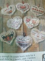 Cross Stitch Hearts Set of 8 Pam Bono Better Homes and Gardens NOS 1989 Gift