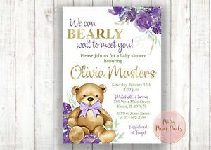 Teddy Bear Purple Floral Baby Shower Invitation, Bear, Baby Girl, Shower, Invite