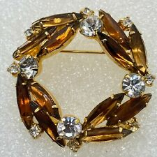 Vintage WREATH BROOCH Pin Amber Glass Navette Crystal Rhinestone Costume Jewelry