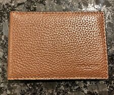NEW COACH MENS SADDLE EMBOSSED LOGO PEBBLE LEATHER ID CARD WALLET PASSCASE TAN