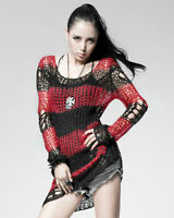 Punk Rave Shredded Knit Sweater Top Black Red Stripe Goth Distressed Grunge