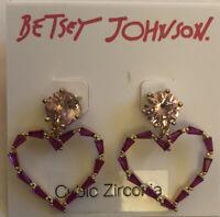 Betsey Johnson Gold-Tone Pink Cubic Zirconia Open Heart Drop/Dangly Earrings NWT