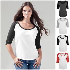 Womens Ladies 3/4 Sleeve Raglan Baseball Casual T Shirt Tee Jersey Top Scoop