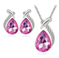 Crystal Pendant Chain Necklace Women Chic Stud Silver Plated Earring Jewelry Set Pink