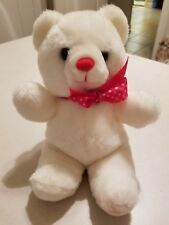 """12"""" VINTAGE CUDDLE WIT PLUSH WHITE TEDDY BEAR WITH RED POLKA DOT BOW FREE SHIP"""