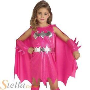 fille de luxe rose Batgirl Déguisement SUPER HÉROS Enfants costume halloween