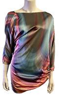 Elizabeth And James Rainbow Silk Asymetrical Top Blouse Shirt S