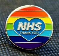 Key NHS Worker Pin Rainbow Thank You Heart Enamel Lapel Badge 2021
