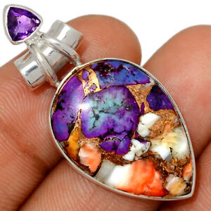 New Oyster Purple Turquoise & Amethyst 925 Silver Pendant Jewelry BP79737