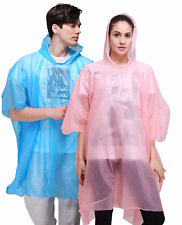 Adult Raincoat Unisex Transparent 100 % Waterproof Plastic Reusable Rain Poncho