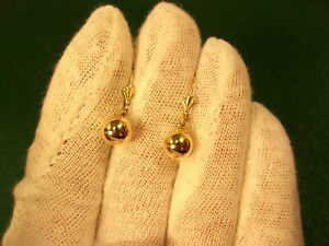 EXCELLENT LADIES or GIRLS 14K YELLOW GOLD 8mm BALL DANGLE EARRINGS WITH HOOKS