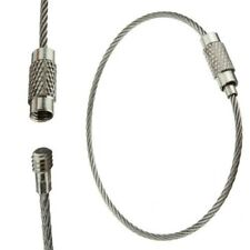 100pcs Stainless Steel Wire Cable Keychain Key Ring Chain With Screw Lock
