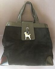 Barry Kieselstein-Cord Black Suede Leather Contrast Charm Detail Satchel Handbag