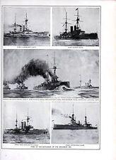 1911 PRINT ~ TYPES OF BATTLE SHIPS IN EDWARDIAN ERA ~ ALBEMARLE HMS QUEEN NELSON