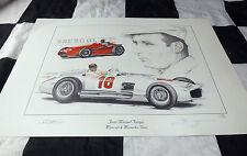 1954 Mercedes W196 & Maserati 250F Manuel Fangio Nuevo Arte Pintura Impresión Retrato