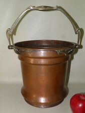 ANTIQUE HAND HAMMERED ARTS & CRAFTS ART NOUVEAU COPPER BRASS BUCKET POT PLANTER