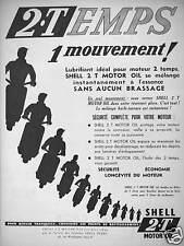 PUBLICITÉ 1954 SHELL 2.TEMPS 1 MOUVEMENT LUBRIFIANT MOTEUR 2 TEMPS - SCOOTER