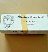 Vintage Original Green Alaskan Deer Call W/Box & Paper Handheld Mouth Call Used