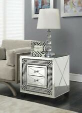 Mirrored 2 Drawer Side Table End Table Glass Bedside Locker Cabinet Silver