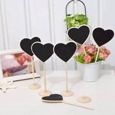 5Pcs Wooden Heart Shaped Blackboard Chalkboard Message Board Wedding Table Decor